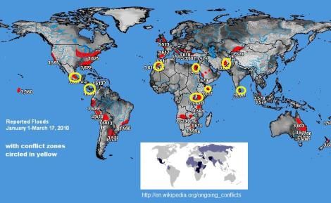 2010 Floods and Intense conflict zones