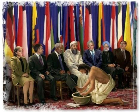 jesus washing feet world leaders