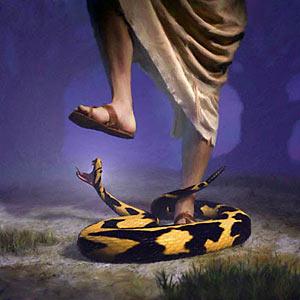 Serpent biting Jesus heel