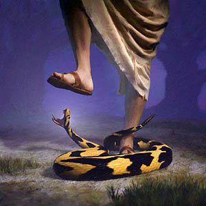 Serpent biting Jesus heel