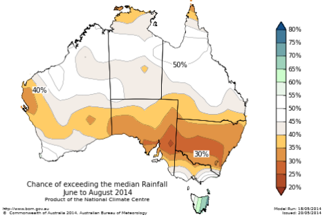 Drier than normal winter likely for southern mainland Australia 2014